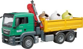 Bruder MAN TGS LKW mit Ladekran, 3 Altglascontainern und Flaschen
