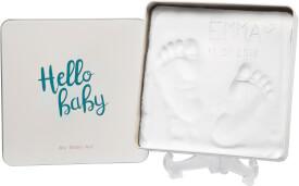 Baby Art eckige Geschenkbox aus Metall mit Gipsabdruck